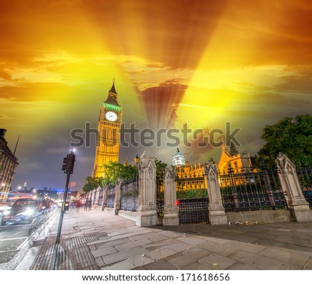 London, UK. Wonderful night view of Westminster Palace and Big Ben with city traffic. - stock photo