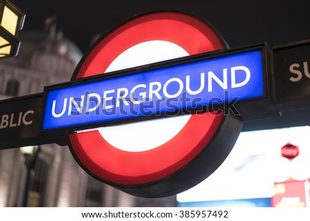 London Underground station LONDON, ENGLAND - FEBRUARY 22, 2016 - stock photo