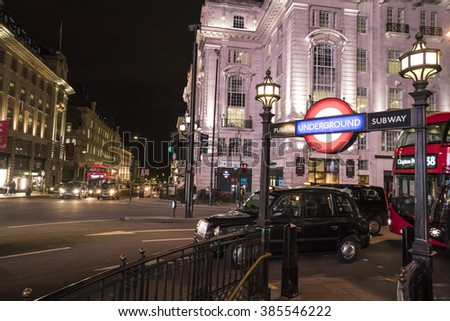 London Underground station Piccadilly Circus LONDON, ENGLAND - FEBRUARY 22, 2016