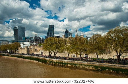 LONDON, UNITED KINGDOM - 26 APRIL, 2015: Financial District of London, United Kingdom on 26 April, 2015. - stock photo