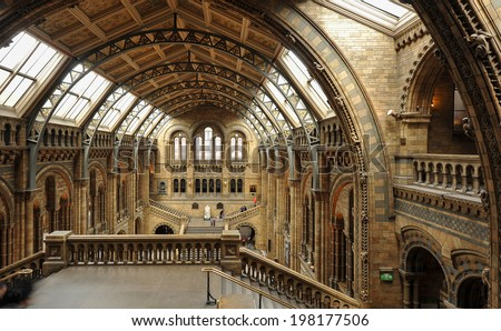 LONDON, UNITED KINGDOM - APRIL 16, 2014: Interior view of Natural History Museum. The museum's collections comprise almost 70 million specimens from all parts of the world. - stock photo