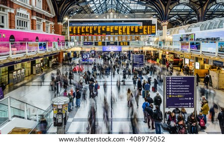 LONDON, UNITED KINGDOM - APRIL 7, 2016: People at Liverpool Street station. Opened in 1874 it is third busiest and one of the main railway stations in UK, with connection to London Underground. - stock photo
