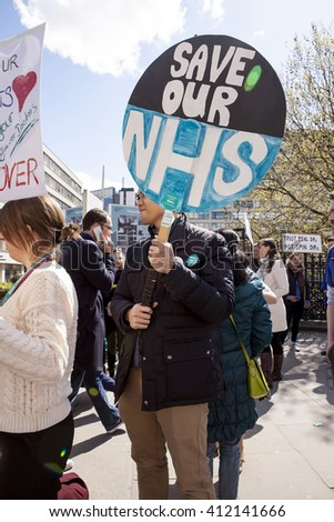 London, United Kingdom - April 27, 2016: The Second Day of the Strike By Junior Doctors. The junior doctors resolve is strong on the second day of the all out strike over working conditions.