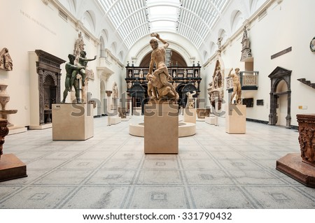 LONDON, UNITED KINGDOM - APRIL 16, 2014: Victoria and Albert Museum interior view. V&A Museum is the world's largest museum of decorative arts and design.  - stock photo