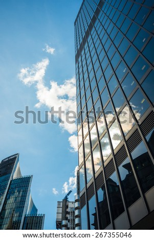 London, United Kingdom - August 21, 2014: Skyscrapers in the City of London in summer. Modern Office Buildings, London.
