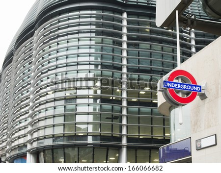 LONDON, UNITED KINGDOM - CIRCA NOVEMBER 2013:Subway station and subway sign in London