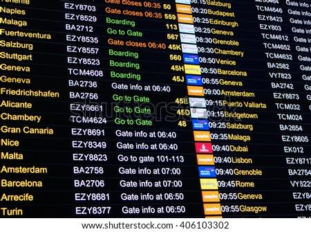 LONDON, UNITED KINGDOM - February 20, 2016: Airport departure board screen - stock photo