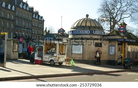 LONDON, UNITED KINGDOM - FEBRUARY 16, 2014: Clapham Common tube station in London on February 16, 2014, UK. - stock photo