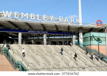 London, United Kingdom-February16, 2016:Wembley Park is closest station to Wembley Stadium which  is opened in 207 on the site of Empire Stadium. With 90 000 seats it is largest stadium in UK. - stock photo