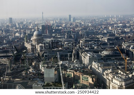 LONDON, UNITED KINGDOM - January 2, 2015: Aerial view of London from the Walkie Talkie building on 20 Fenchurch Street . - stock photo