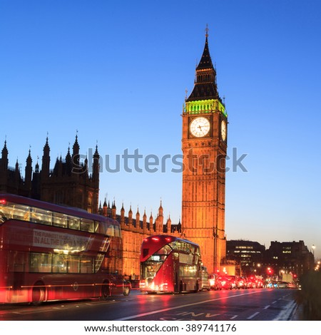 LONDON, UNITED KINGDOM -  22 JANUARY 2016: Big Ben and house of parliament at twilight, London, UK - stock photo