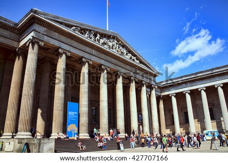 London, United Kingdom, July 24, 2011 : Tourists visiting the Australian Season exhibition at the British Museum, England - stock photo