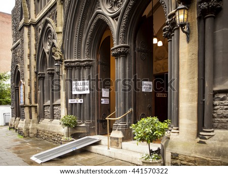 London, United Kingdom - June 23, 2016: British Referendum. A voting station in inner London is the grand entrance to St Matthew's Church. UK is voting to stay or leave the EU.