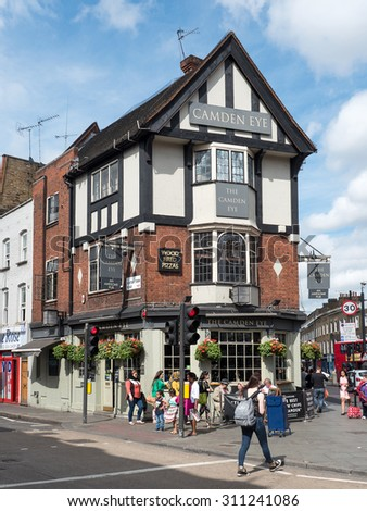 LONDON, UNITED KINGDOM - JUNE 17, 2015: Camden Eye Pub. The Camden Eye is a famous pub and sits right in the heart of Camden Town. - stock photo
