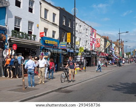 London, United Kingdom - June 14, 2015: Camden Town Market, famous alternative culture shops in Camden Town, London, England. Camden Town markets are visited by 100,000 people each weekend. - stock photo