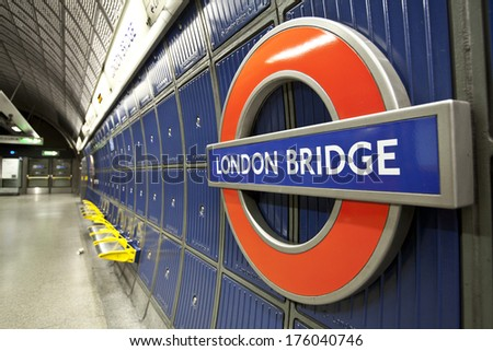 London, United Kingdom - June 4, 2013: London Bridge underground sign in London, UK.