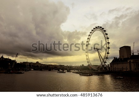 LONDON, UNITED KINGDOM, JUNE 16, 2016: London Eye in sunset