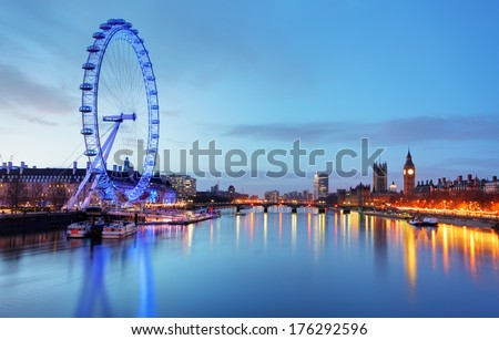 LONDON, UNITED KINGDOM - JUNE 19: London Eye on June 19, 2013 in London, United Kingdom is the tallest Ferris wheel in Europe at 135 meters - stock photo