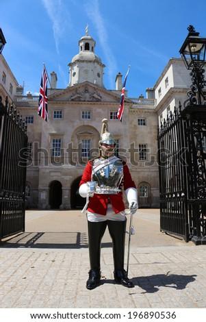 LONDON, UNITED KINGDOM - JUNE 3: Royal British guard infront of Horse Guards June 3, 2013 in London,  United Kingdom  - stock photo