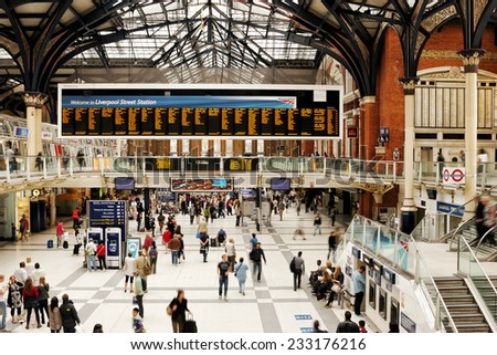London, United Kingdom, Liverpool Street Station, 23 July 2011 : London Liverpool Street Station during rush hour with people waiting for trains in front of arrival departure board - stock photo