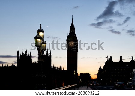LONDON, UNITED KINGDOM - MARCH 24: Silhouette of the Elizabeth Tower on March 24, 2014 in London. The Clock Tower, named in tribute to Queen Elizabeth II in her Diamond Jubilee, also known as Big Ben. - stock photo