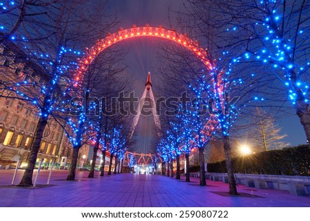 LONDON, UNITED KINGDOM - March 1st: London Eye on March 1st, 2015 in London, United Kingdom is the tallest Ferris wheel in Europe at 135 meters - stock photo