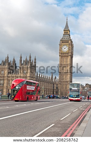 LONDON, UNITED KINGDOM - MARCH 24: The Elizabeth Tower, Big Ben in London on March 24, 2014. The Clock Tower, named in tribute to Queen Elizabeth II in her Diamond Jubilee, more popularly known as. - stock photo