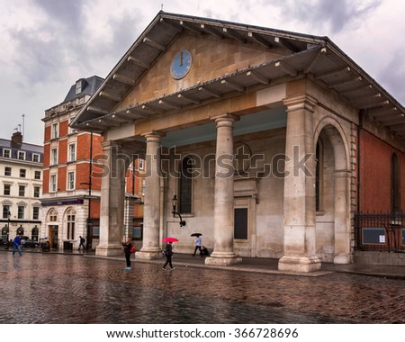 LONDON, UNITED KINGDOM - OCTOBER 6, 2014: Saint Paul's Church in Covent Garden, London. St Paul's Church, also known as the Actors' Church is designed by Inigo Jones in 1631.