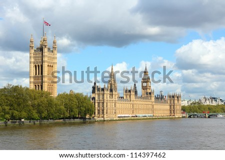 London, United Kingdom - Palace of Westminster (Houses of Parliament) with Big Ben clock tower. UNESCO World Heritage Site. - stock photo