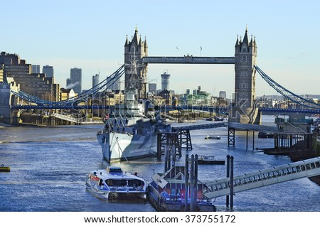 London, United Kingdom - river Thames with Tower bridge and warship HMS Belfast