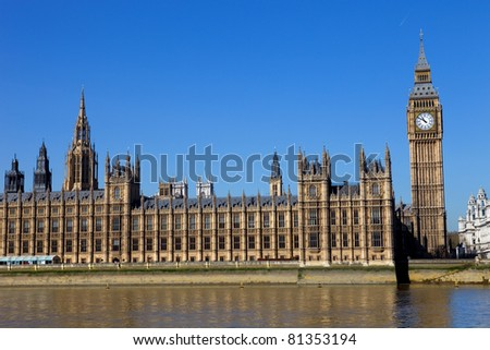 London view, Big Ben, Parliament and river Thames