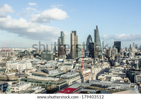London view from St. Paul's Cathedral  - stock photo