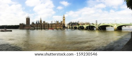 London. Westminster area panoramic view - stock photo