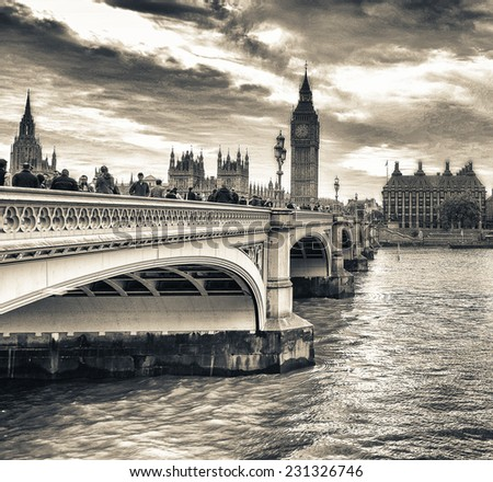 London. Westminster Bridge and Houses of Parliament. - stock photo