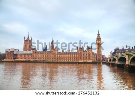 London with the Clock Tower and Houses of Parliament in the morning