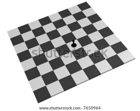 lone black pawn on a chess board - stock photo