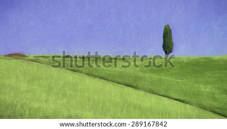 Lone Cypress Tree on a Hill in Tuscany, Italy - stock photo