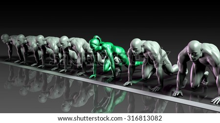 Lone Female Competing Against Males in a Race - stock photo