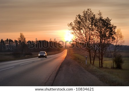 lone highway - stock photo