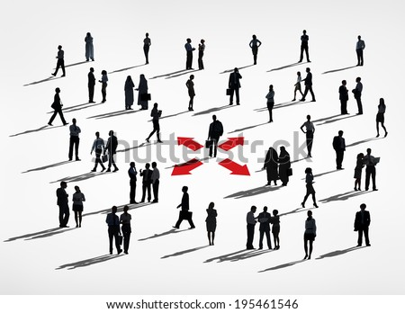 Lone Silhouettes Of A Business Man In A Center Amongst Group Of Silhouettes Of Business People.