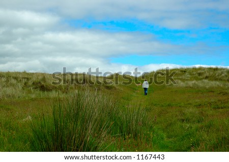 Lone woman walker - stock photo