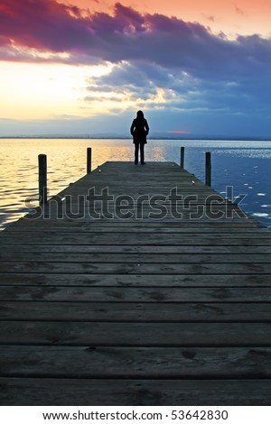loneliness in the landscape - stock photo