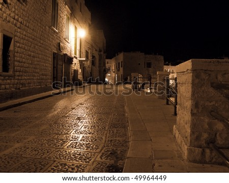 Lonely Alley by night. Giovinazzo. Apulia. - stock photo