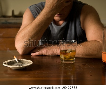 lonely and drunk - stock photo