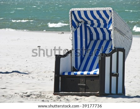 Lonely Beach chair at the beach of Darss (Mecklenburg-Vorpommern, Germany)