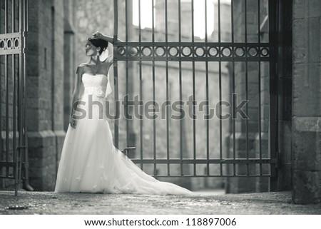 lonely bride - stock photo