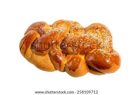 Lonely bright shabbat challah isolated on white background - stock photo