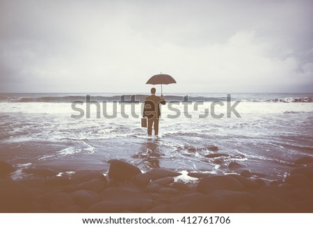 Lonely Businessman Alone Beach Concept - stock photo