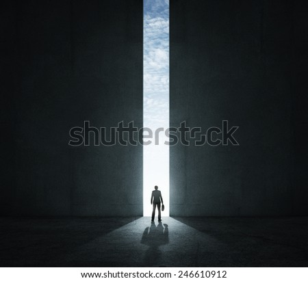 Lonely businessman standing in front of the huge gate - stock photo