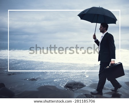 Lonely Businessman Walking Beach Depression Concept - stock photo